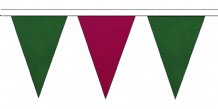 DARK GREEN AND CLARET TRIANGULAR BUNTING - 10m / 20m / 50m LENGTHS